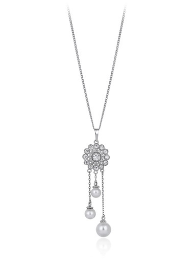 Tophills Diamond Co. 0,90 Ct Pırlanta Efekt  Altın Bendis  Pearl Kolye Renkli
